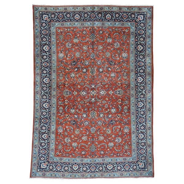 Hand Knotted Persian Style Wool Pile Area Rug: Shop Antique Persian Kashan Red Wool Full-pile Hand