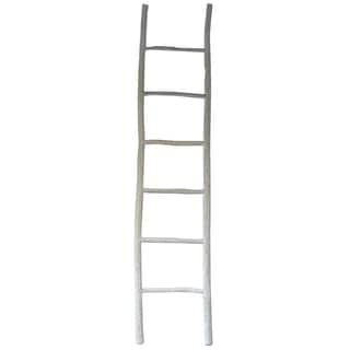 Decorative White Teak Wood 18-inch x 1.5-inch x 83-inch Ladder