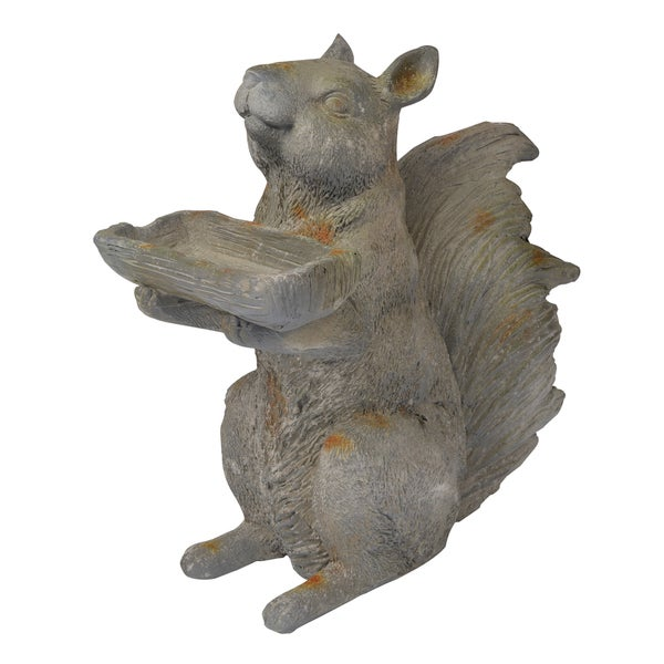 Shop Grey Resin Squirrel Statue Bird Feeder Free