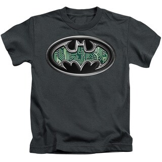 Batman/Circuitry Shield Short Sleeve Juvenile Graphic T-Shirt in Charcoal