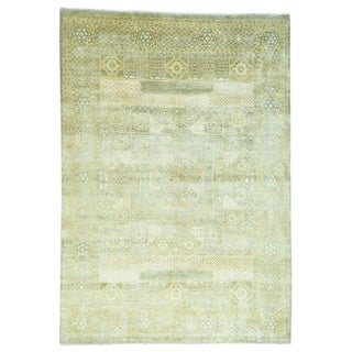 1800GetaRug Egyptian Mamluk Gold/Ivory/Light Green/Beige Wool Hand-knotted Oriental Rug (10' x 14'1)