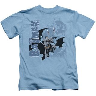 Batman/Throwing Blades Short Sleeve Juvenile Graphic T-Shirt in Carolina Blue
