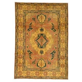 1800GetaRug Kazak Overdyed Orange Hand-knotted Wool Oriental-style Rug (6'2 x 8'9)