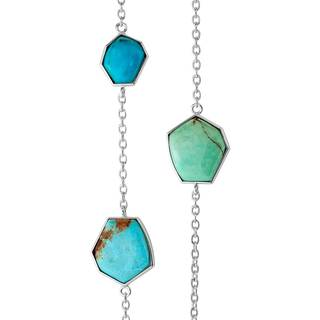 Sterling Silver Turquoise Station Necklace - Blue