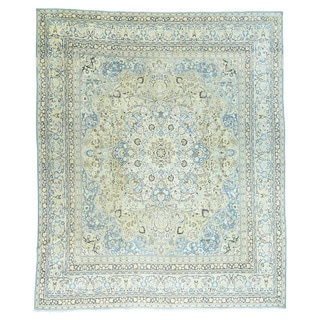 1800GetaRug Tabriz Beige/Multicolor Wool Antique-style Persian Hand-knotted Oversized Rug (11'10 x 14'3)