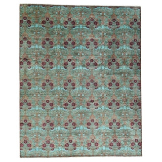 Hand-knotted Arts and Crafts Aqua/Maroon/Green Wool Oversized Rug (12'2 x 15'2)