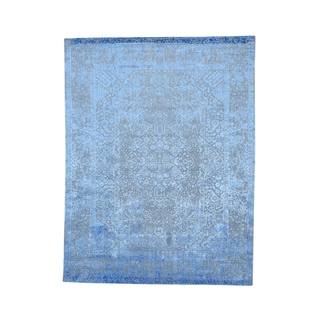 Wool and Bamboo-silk Broken-design Hand-loomed Rug (7'9 x 10'1)