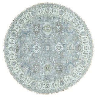 Karajeh Oriental Hand-knotted Stone-washed Round Carpet (8' x 8')