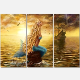 Sea Mermaid with Ghost Ship - Seascape Metal Wall At - 36Wx28H