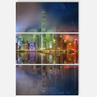 Hong Kong Panoramic View - Seascape Metal Wall At - 36Wx28H