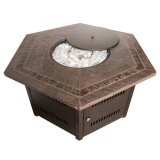 Hiland Faux Stone Hexagon Fire Pit