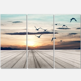 Wooden Floor Sunset - Seashore Art Metal Wall At - 36Wx28H