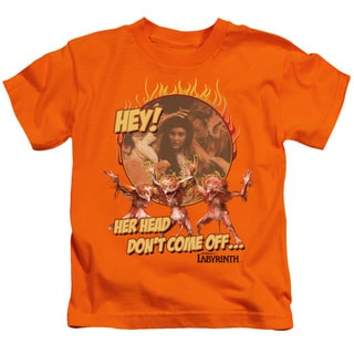 Labyrinth/Head Don't Come Off Short Sleeve Juvenile Graphic T-Shirt in Orange