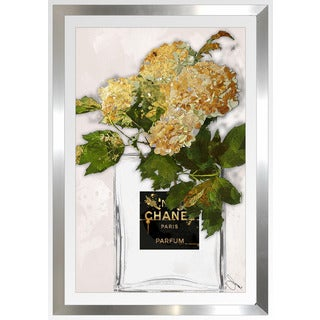"BY Jodi ""Gold Flowers 2"" Framed Plexiglass Wall Art"
