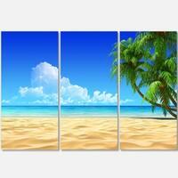 Coconut Palms Bent into Beach - Seashore Art Metal Wall At - 36Wx28H