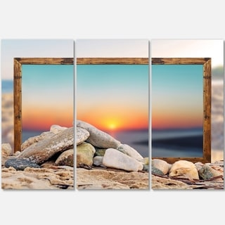 Framed Blurred Beach - Seashore Art Metal Wall At - 36Wx28H