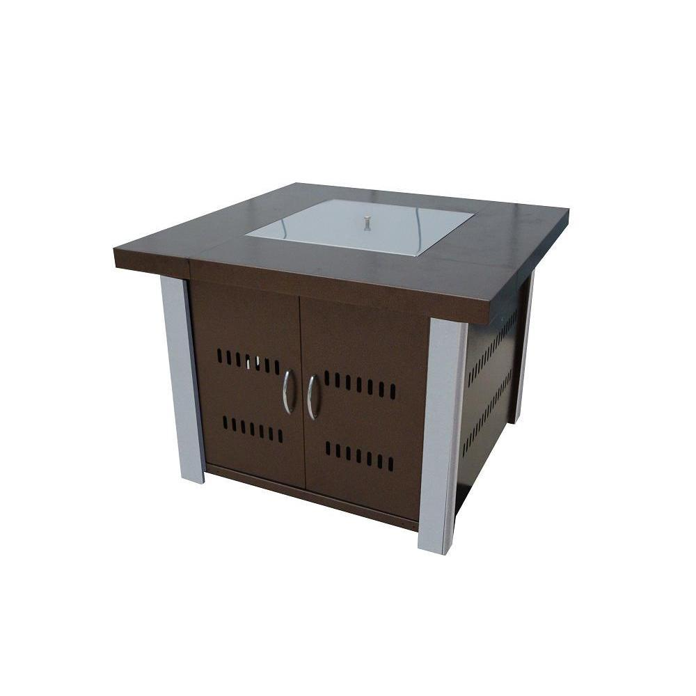 Hiland Hammered Bronze Fire Pit with Stainless Steel Acce...