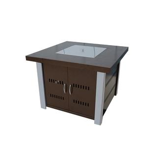 Hiland Hammered Bronze Fire Pit with Stainless Steel Accents