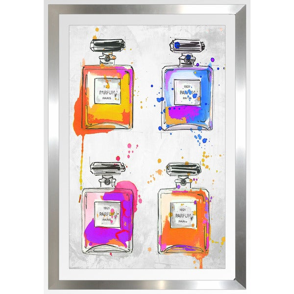 "BY Jodi ""Multi Color Splash Perfum Bottles"" Framed Plexiglass Wall Art"