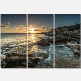Sydney Beach with Bright Sunset - Seashore Metal Wall At - 36Wx28H