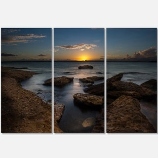 Rocky Sydney Beach at Sunset - Seashore Metal Wall At - 36Wx28H