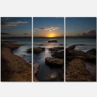 Rocky Sydney Beach at Sunset - Seashore Metal Wall At - 36Wx28H