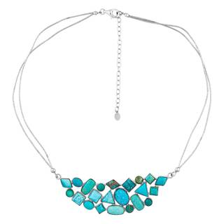 Sterling Silver Nevada Turquoise Cluster Necklace - Blue