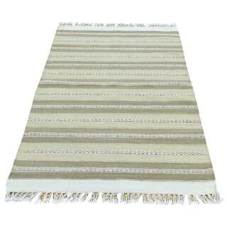 Multicolored Wool Handwoven Durie Kilim Flatweave Striped Rug (2'9 x 4'10)