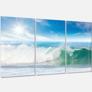 White and Blue Waves under Sun - Seashore Metal Wall At - 36Wx28H