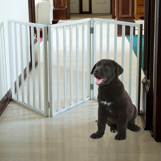 Petmaker White Wooden Freestanding Pet Gate