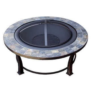 Hiland FT-51216 Black Steel Wood-burning Slate-top Fire Pit