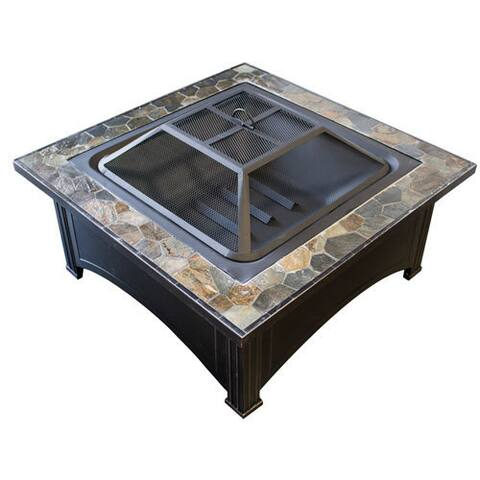 Hiland Black Wood/Steel Burning Fire Pit with Slate Top