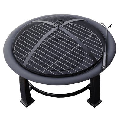 Hiland Black Wood/Steel Burning Fire Pit with Cooking Grate