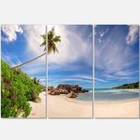 Beautiful Beach at La Digue Seychelles - Large Seashore Metal Wall At - 36Wx28H
