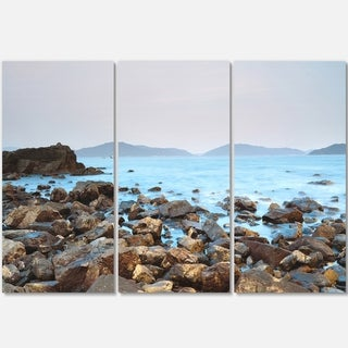 Stones on Shore of Port Shelter HK - Large Seashore Metal Wall At - 36Wx28H