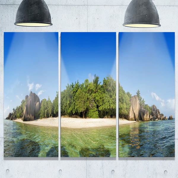 Paradise on Earth Seychelles Island - Large Seashore Metal Wall At - 36Wx28H