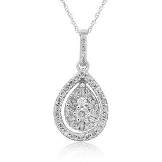 10K White Gold 1/2CT TDW Round & Baguette Diamond Pendant (H-I, I2-I3)