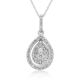 10K White Gold 1/2CT TDW Round & Baguette Diamond Pendant