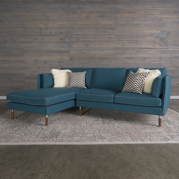 Florence mid century modern 2 piece teal blue sofa for Florence modern sectional sofa