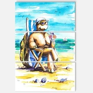 Turtle Enjoying Holidays on Beach - Large Seashore Metal Wall At - 36Wx28H