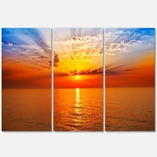 Orange Sea Sunrise under Blue Sky - Large Seashore Metal Wall At - 36Wx28H