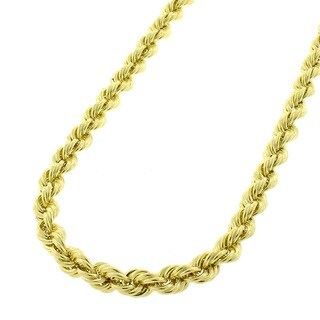 10k Yellow Gold 4mm Hollow Rope Chain Necklace