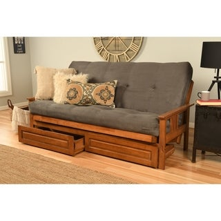 Somette Beli Mont Futon Set with Barbados Frame, Suede Grey Mattress and Storage Drawers