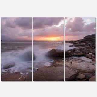 Stormy Waves in Beautiful Australia Beach - Large Seashore Metal Wall At - 36Wx28H