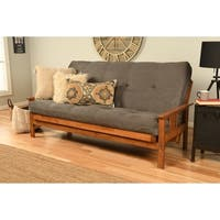 Somette Beli Mont Grey Wood/Fabric Full-size Futon Set