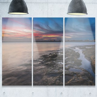 Colorful Sky and Dark Rocky Sydney Coast - Large Seashore Metal Wall At - 36Wx28H