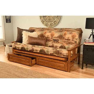 Somette Beli Mont Fabric/Wood Futon Set with Barbados Frame and Storage Drawers