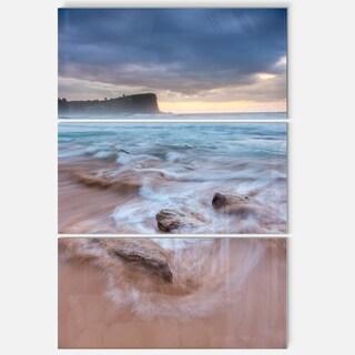 Bright Sydney Sea with Long Waves - Large Seashore Metal Wall At - 36Wx28H