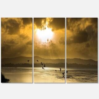 Glittering Sun Among heavy Clouds - Large Seashore Metal Wall At - 36Wx28H