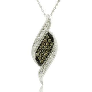 10k White Gold 1/3CT TDW Round Diamond and Champagne Pendant Necklace (H-I, I3)